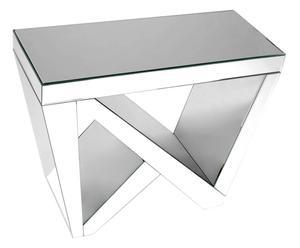 consolle in vetro e mdf argento - 70x55x30 cm