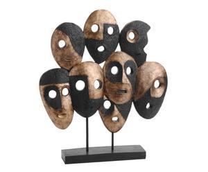 scultura decorativa in poliresina marrone e nera facce - 45x48x8 cm