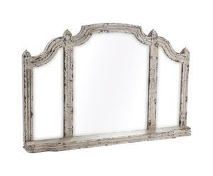 Specchio da parete con struttura in legno con mensola Adela - 107x71x15 cm