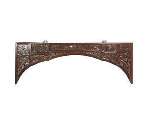 Testata da letto cinese in catalpa con fregi - 203x73x3 cm