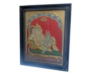 Dipinto di Tanjor raffigurante Shri Ganesh - In stile Tamil