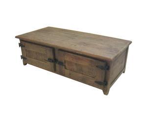 baule TAVOLO in legno di pino riciclato e metallo a 2 ante - 140x45x70 cm