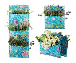 Set di 3 fioriere a muro in plastica Flower
