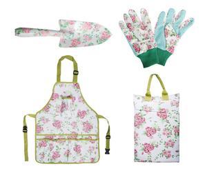 Set giardinaggio con guanti, cuscino, paletta e grembiule Roses