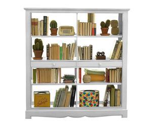libreria a giorno in legno massello Margot bianco - 155x165x50 cm