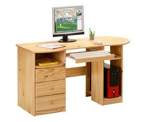 scrivania porta pc in pino massello touch - 137x76x61 cm