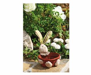 Cestino decorativo in vimini e tessuto Bunny - 15x22 cm