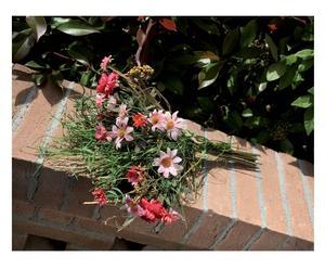 composizione floreale margherite, rose e fili d'erba - 44 cm