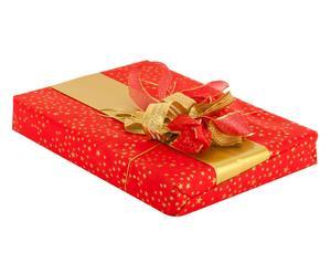 set regalo (carta, nastri, cordino) stars rosso - 5 pezzi