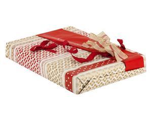 set regalo (carta, nastri) red&gold - 4 pezzi