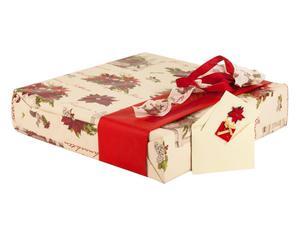 set regalo (carta, nastri, biglietti auguri) stella di natale - 7 pezzi