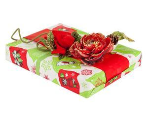 set regalo (carta, nastro, decorazione) x'mas - 5 pezzi