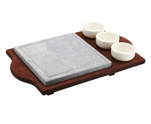 Pietra ollare quadrata con base in legno e 3 ciotole