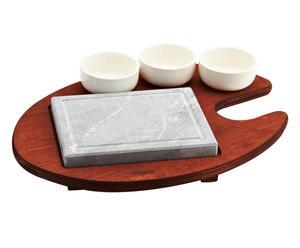Pietra ollare su base di legno con 3 ciotole in porcellana - 41x30 cm