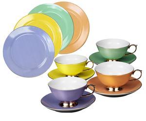 Set da tavola Princess multicolor - (4 tazze con piattini + 4 piatti)