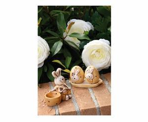 Set con Portauovo e vassoio con saliera e pepiera in ceramica HAPPY RABBIT