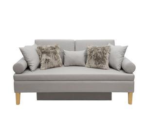 Divano letto in legno e misto lino Scandi grigio - 50X200X70 cm
