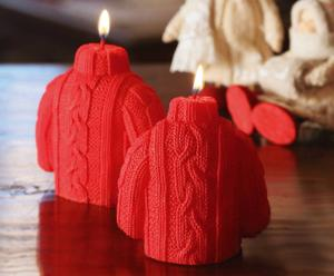 Set di 2 candele in cera Wooly - Rosso