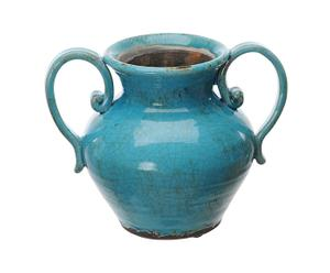 Anfora in ceramica Tuscany azzurro - h 20 cm