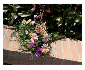 composizione floreale margherite, viole e fili d'erba - 44 cm