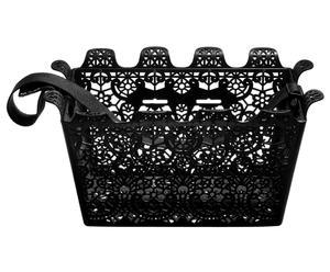 cestino per bicicletta in poliestere e stoffa Carrie, nero - 45x23x30 cm