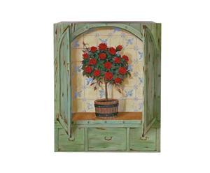 Oleografia su tela Red Rose Tree - 36x28 cm
