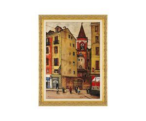 Milano - litoserigrafia materica su tela firmata dall'autore, cm. 70x50