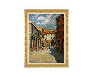 Milano, piazza mercanti - litoserigrafia materica su tela firmata dall'autore, cm. 70x50