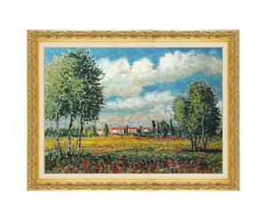 Primavera paesaggio lombardo - litoserigrafia materica su tela firmata dall'autore, cm. 50x70