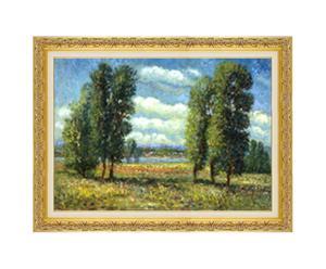 Paesaggio - litoserigrafia materica su tela firmata dall'autore, cm. 50x70