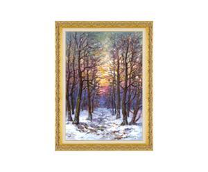 Tramonto d'inverno - litoserigrafia materica su tela firmata dall'autore, cm. 70x50