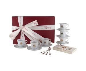 SERVIZIO di tazzine con piattini e cucchiai FLORIAN CAFFE' ANNIVERSARIO
