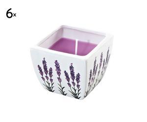 set di 6 candele in vasetto quadrato in ceramica dipinta a mano lavandou