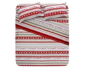 Completo letto matrim. in 100% cotone Alaska - rosso