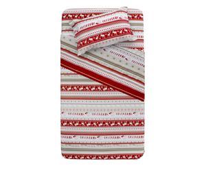 Completo letto singolo in flanella Alaska - rosso