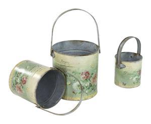 set di 3 secchi portafiori in latta con decorazione demetra - max d 15/H 16 cm