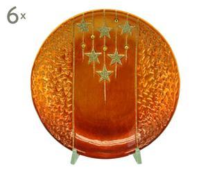 set di 6 piatti piani tondi in terracotta starry night - d 20 cm