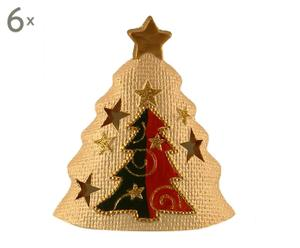 set di 6 alberi di natale decorativi in terracotta x'mas tree - 11x13x7 cm