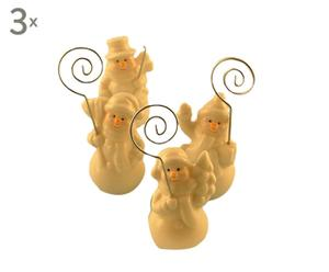 set di 12 segnaposto in ceramica Snowman - d 3/H 9 cm