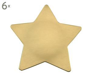 set di 6 piatti piani a stella oro - d 28 cm