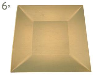 set di 6 piatti piani quadrati oro- 30x30 cm