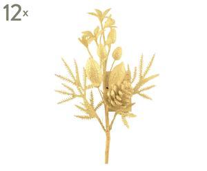 set di 12 rametti decorativi Poinsettia glitter - 10x25x6 cm