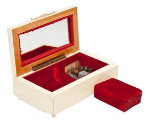 Carillon a carica manuale in legno, ottone e velluto