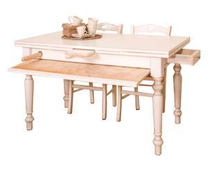 Tavolo estensibile in legno massiccio con spianatoio ASTRO bianco - 140/220x80x80 cm