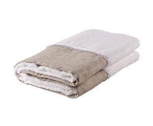 telo bagno in puro cotone con balza in lino sahara - Bianco/sabbia