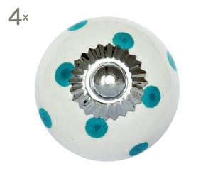 set di 4 pomelli in ceramica pois bianco/acqua - d 4 cm