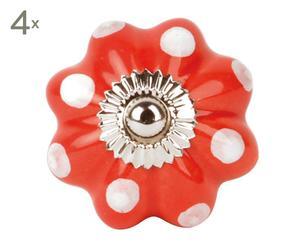 set di 4 pomelli in ceramica a fiore pois rosso - d 4 cm