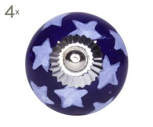 set di 4 pomelli in ceramica star blu - d 4 cm