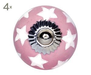 set di 4 pomelli in ceramica star rosa - d 4 cm