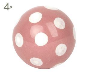 set di 4 pomelli in ceramica dot rosa - d 3,3 cm